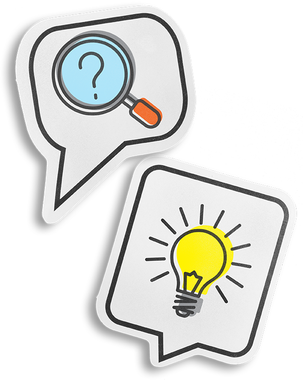 Image of speech bubbles with magnifying glass and lightbulb